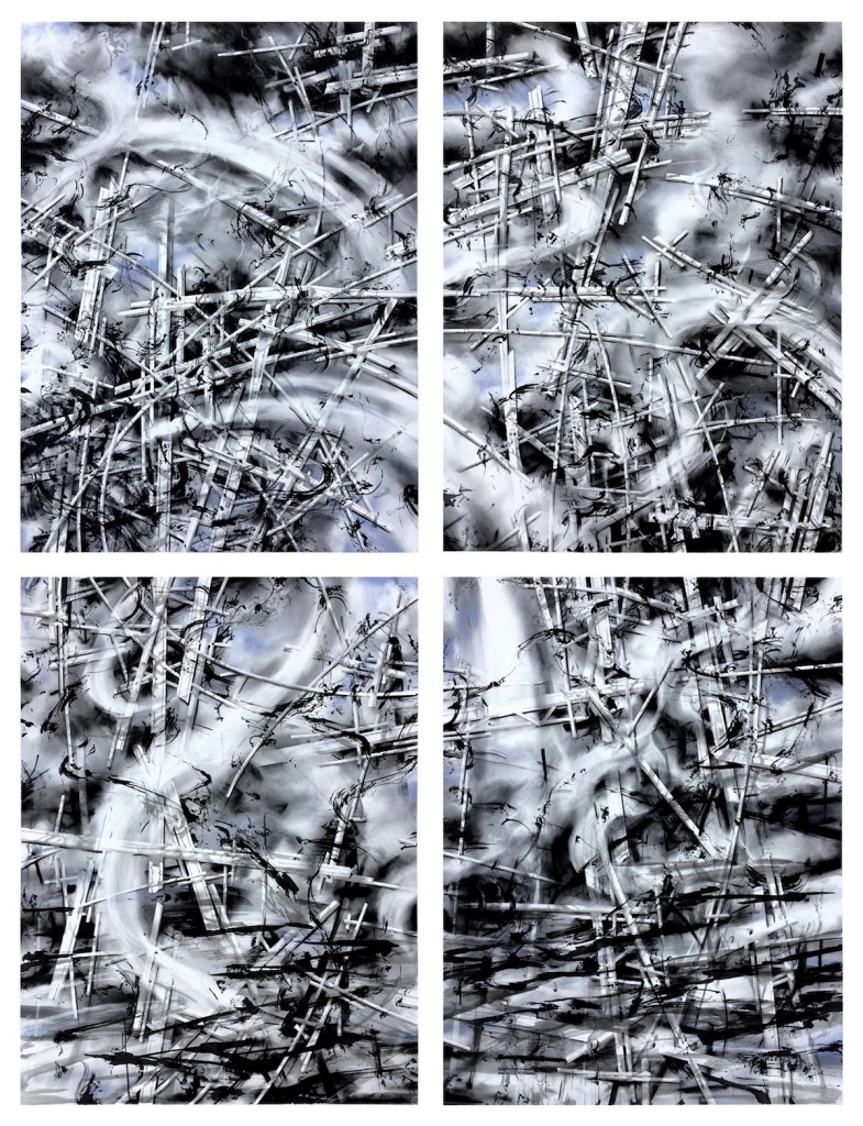 "Title traces Medium ink, graphite, charcoal, pastel on paper Size 80"" x 60"""
