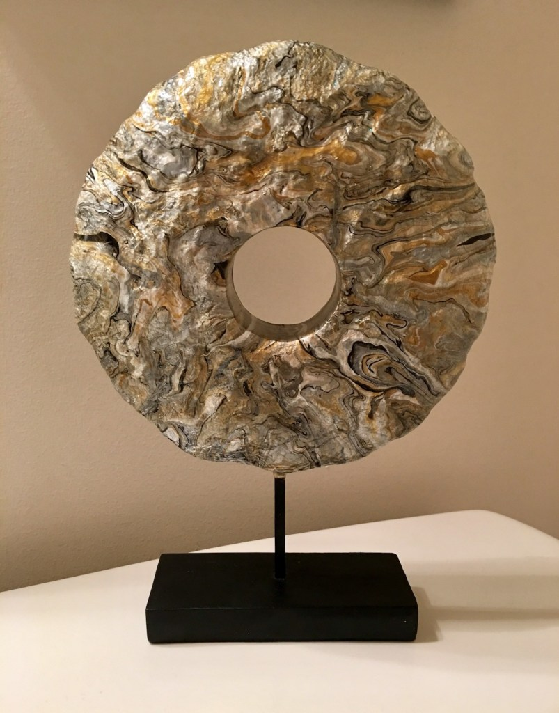 Title Sillimanite Medium Acrylic Paint and Mixed Media Sculpture Size 9 inch diameter