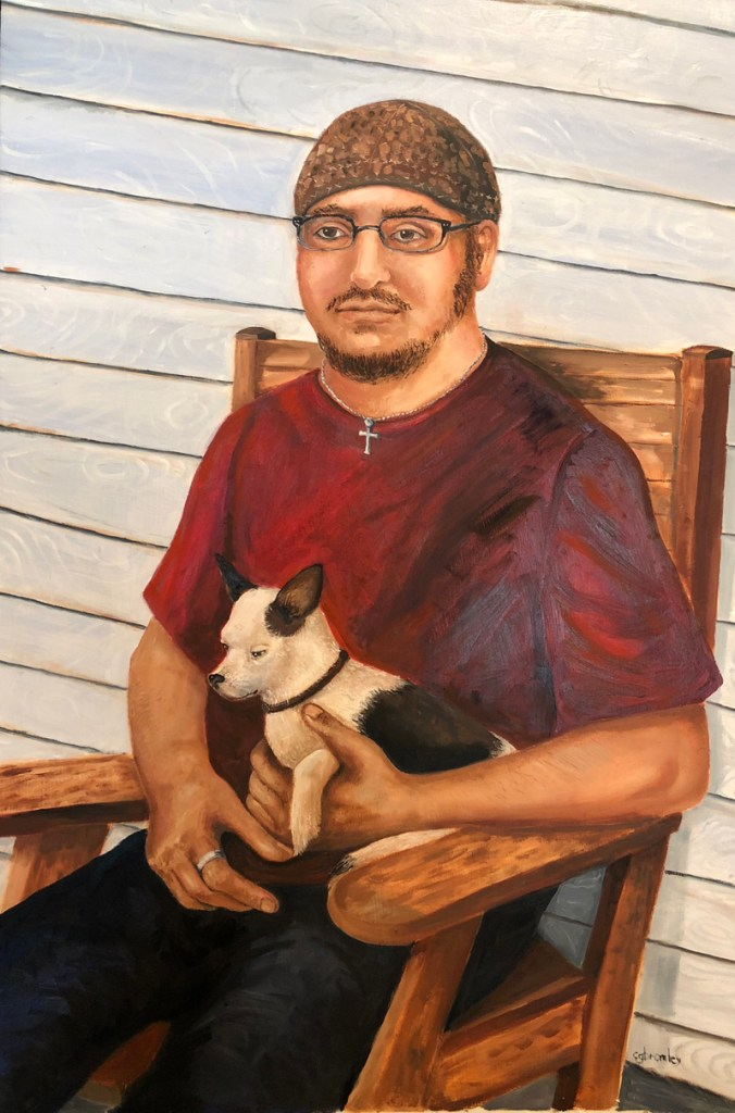 """Title K and Odie Medium Oil on panel Size 25""""x 36"""""""