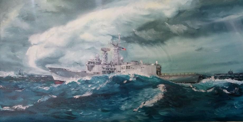 Title Typhoon Sortie Medium Oil on Canvas Size 12x24