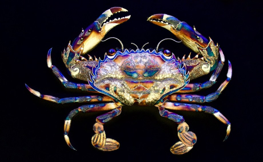 """Title Ornate Crab Medium Stainless Steel Size 70"""" Wide X 48"""" Tall X 8"""" Deep"""