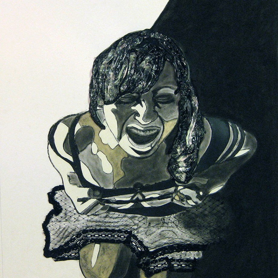 """Title Lend an ear Medium latex, silicone, lace and charcoal on paper Size 23""""x 20"""" x 1"""""""