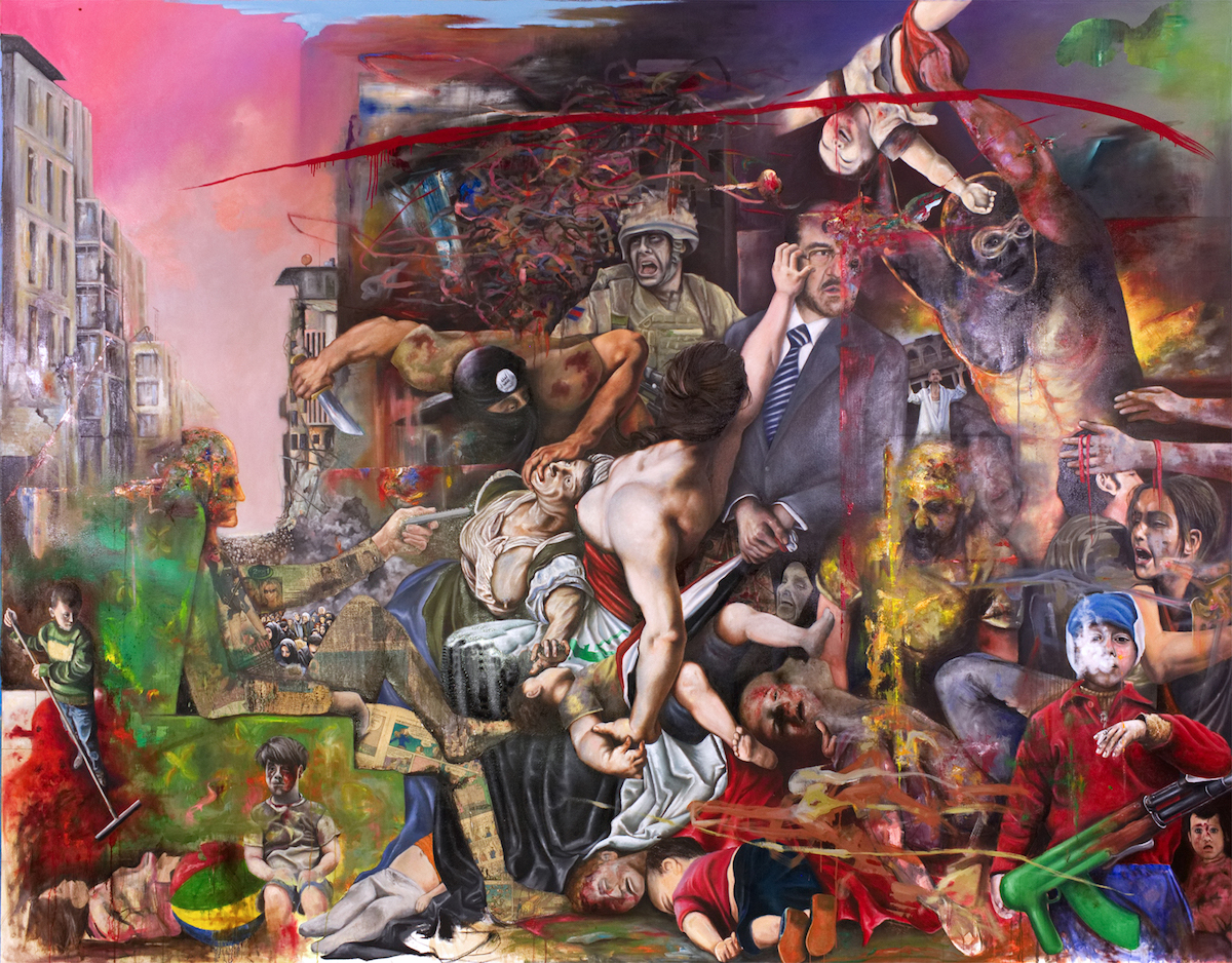 "Title The Massacre of the Innocents Medium Oil, Charcoal and Collage on canvas Size 89"" x 116"""