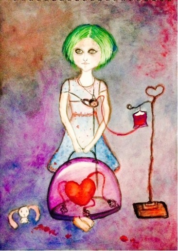 Title Heartless Medium Watercolor on paper Size 15*12