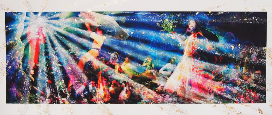 Title Cave of heaven-kojiki- Medium Giclee Print, Acrylic, Gold,Silver Leaf Size 90×38cm