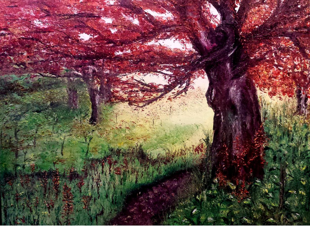 """Title Soul Searching Medium Oil on canvas with palette knife Size 40"""" x 60"""""""