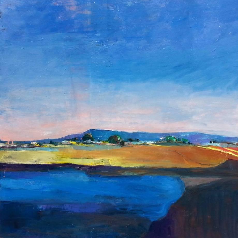 "Title Hayward Shoreline Medium Oil on canvas Size 30' x 30"""