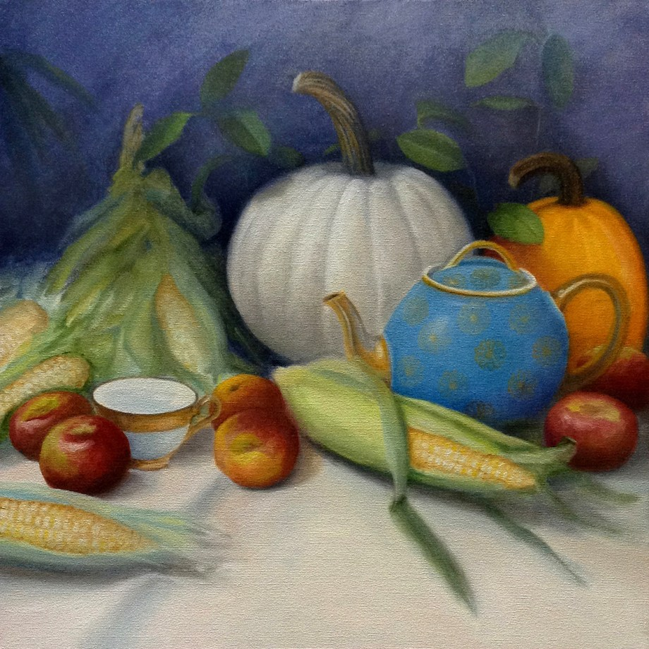 "Title Harvest Time Medium Oil Size 20""x20"""
