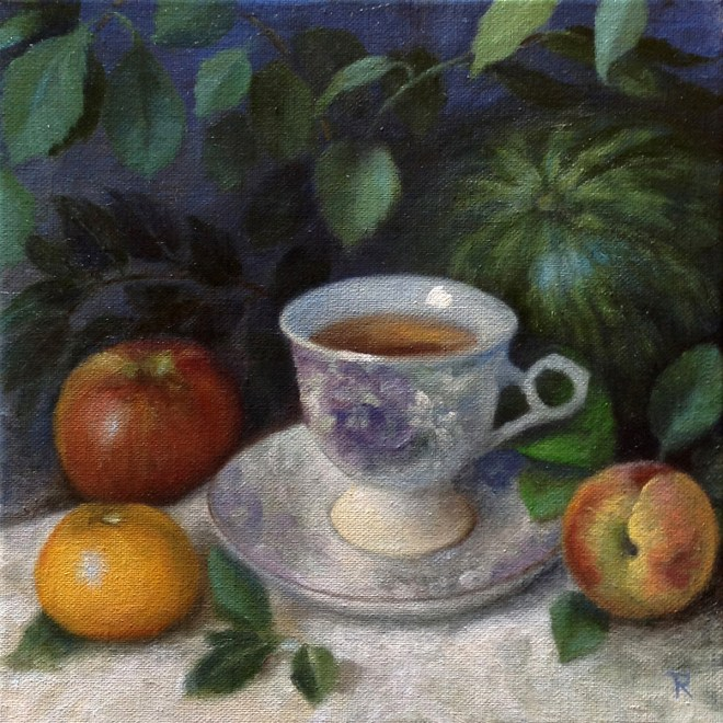 """Title Teacup and Fruits Medium Oil Size 10""""x10"""""""