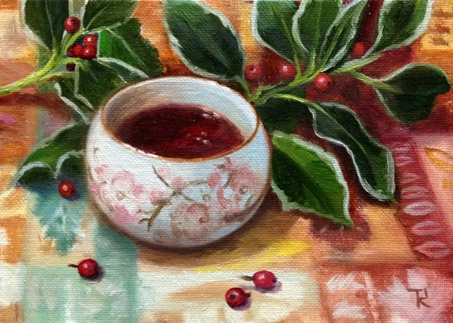 """Title Teacup And Berries Medium Oil Size 5""""x7"""""""