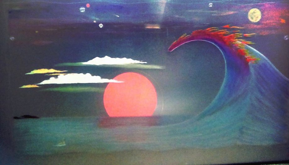 Title One Last Wave Medium Etched Acrylic Size 65 X 38