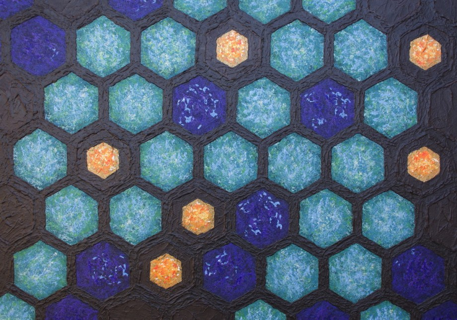 "Title Multi-Dimensional Hex Pattern Medium Acrylic with texture gels on board Size 34""x48"""