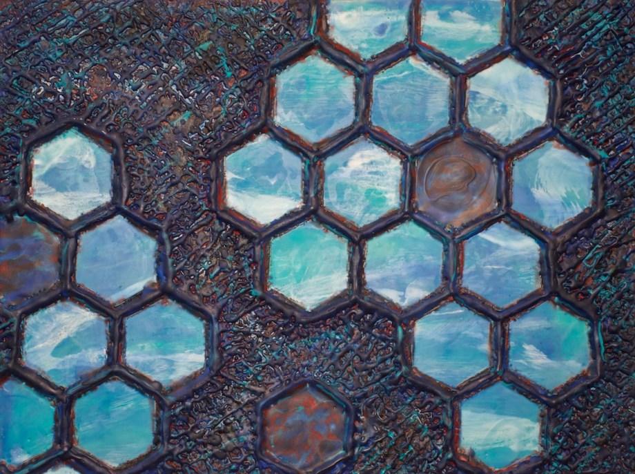 """Title Hive Dimensions Medium Encaustic Size 18""""x24"""""""