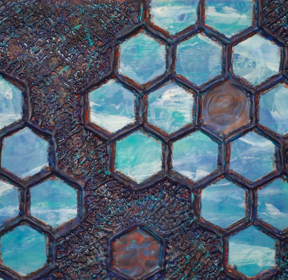 "Title Hive Dimensions Medium Encaustic Size 18""x24"""