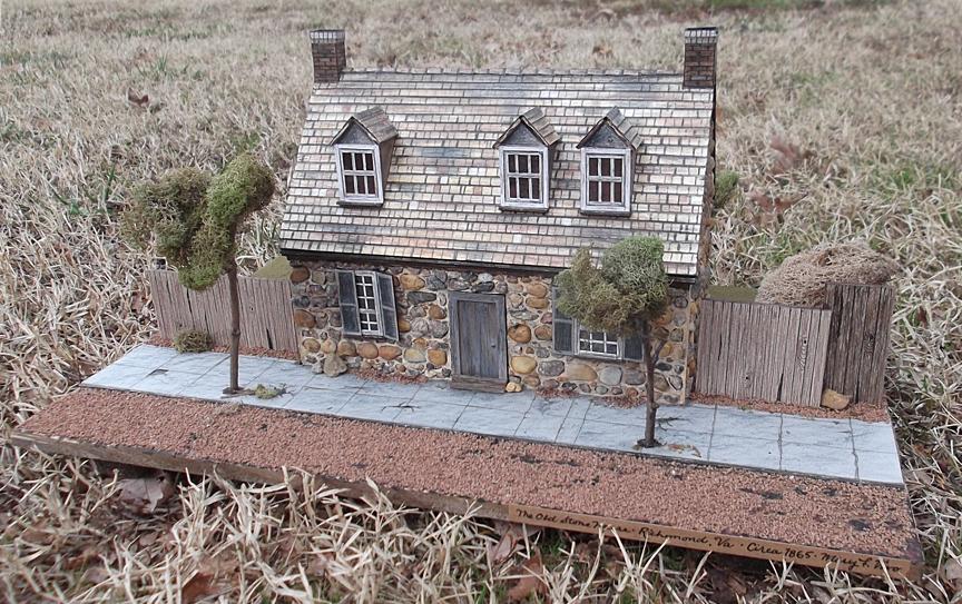 "Title Old Stone House Medium Mixed Size 9"" x 17"" x 12"""