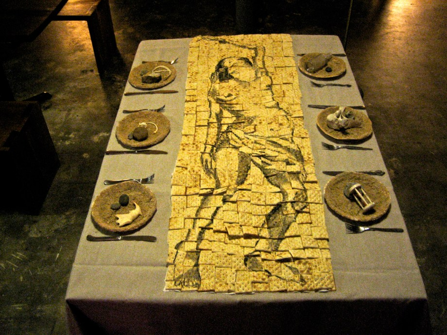 """Title The End of Food Medium Mixed Media: Crackers, watercolor and objects Size 29""""X32""""X42"""""""