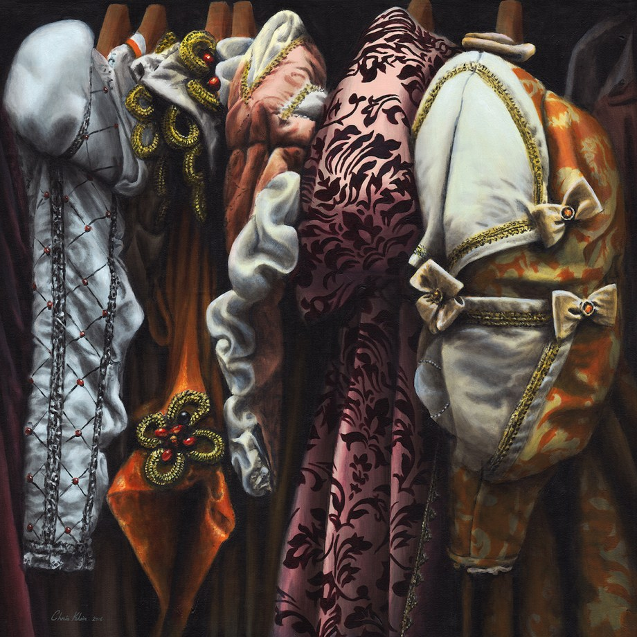 "Title Costumes from the Stratford warehouse No20 Medium acrylic Size 34""x34"""