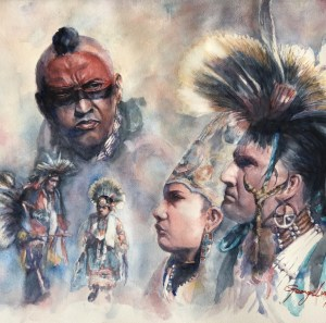 "Title Pow Wow Medium Watercolor Size 18"" x 24"""