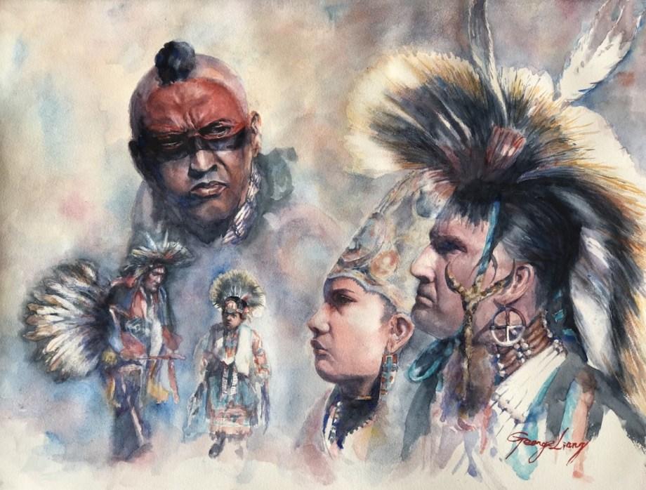 "Title Pow Wow Medium Watercolor Size 18"" x 24"""