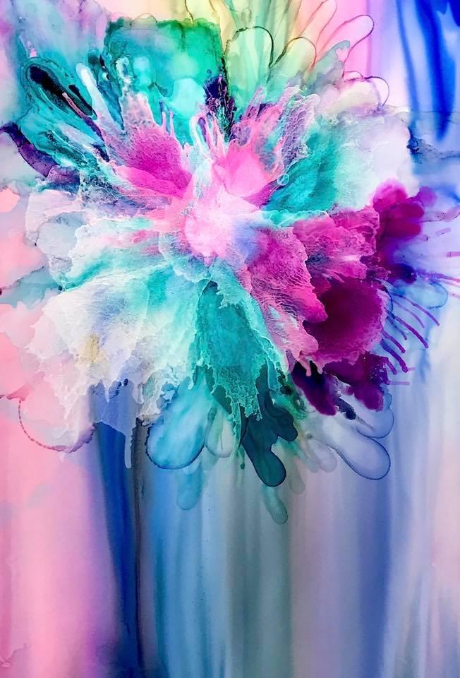 "Title Rainbow Blossom Medium Ink on Yupo Paper Size 8""x10"""