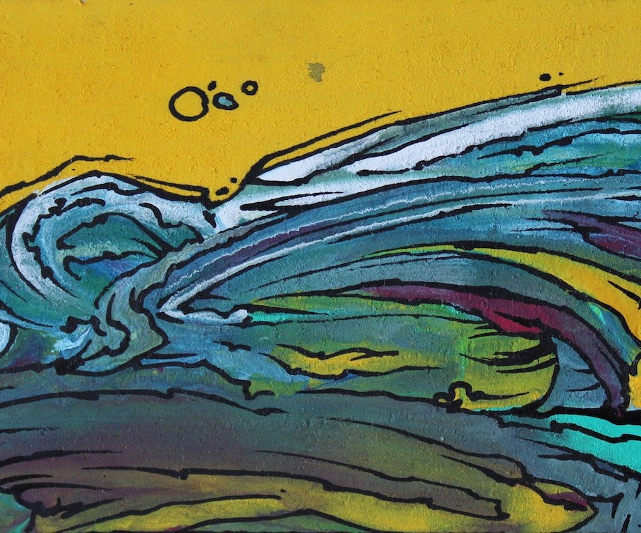 "Title Cross Sections Medium Acrylic on Wood Size 2.5""x3.75"""