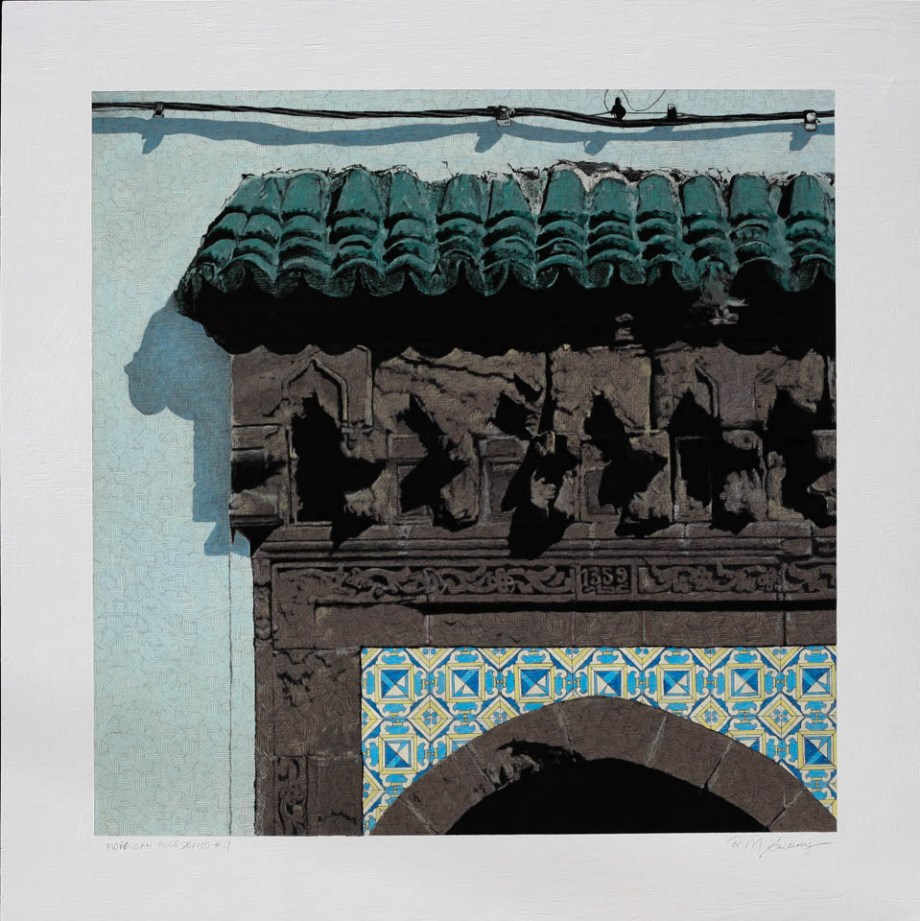 "Title Moroccan Blue Series #9 Medium acrylic and pencil Size 30""x 30"""