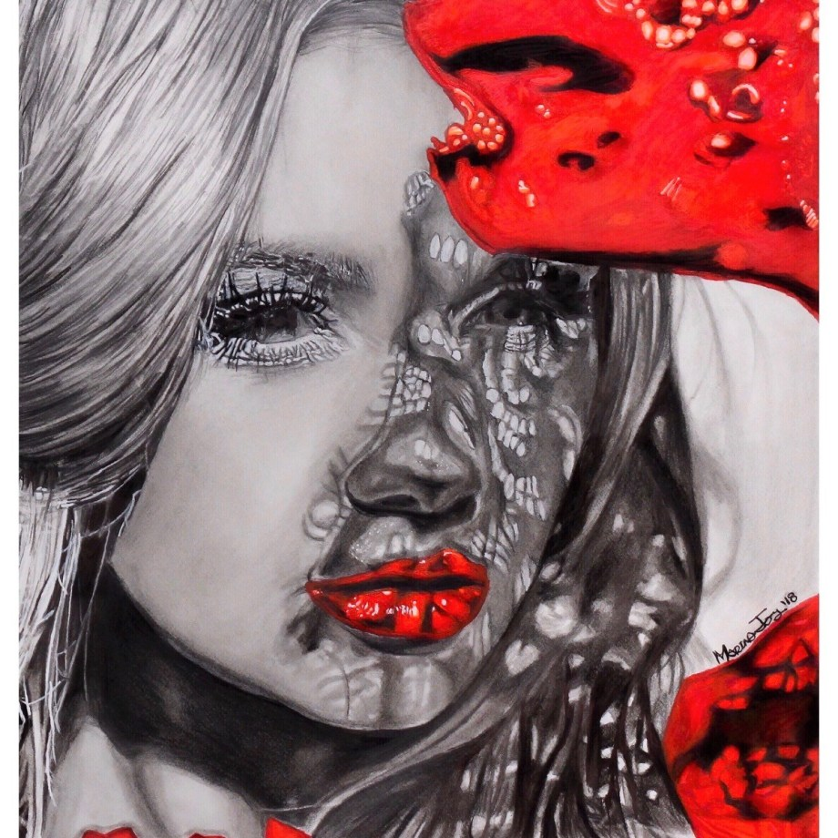 Title Lady in Red Medium Graphite/ink/markers Size 8 x 10
