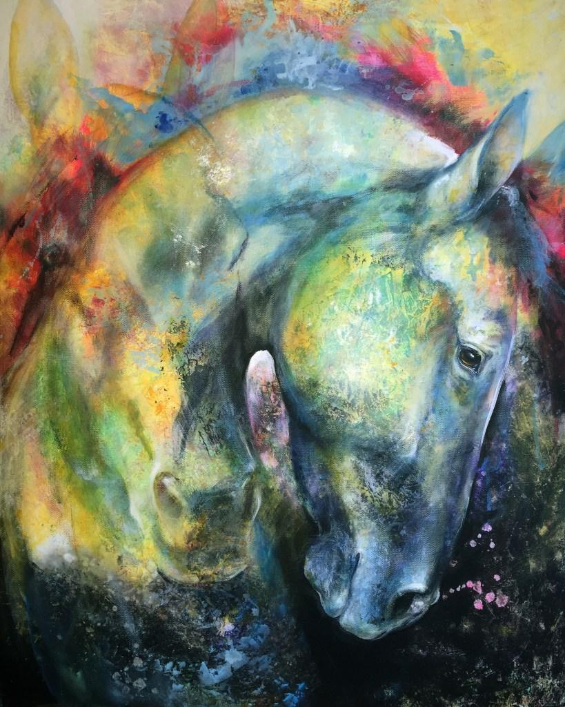 Title Silent Soul - Mottled Horses Medium acrylic on canvas Size 30x24