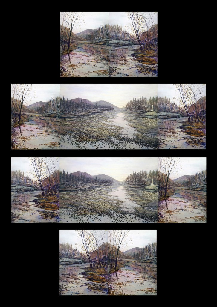 Title Peaceful Silence (Interchangeable Triptych) Medium Acrylic on Canvas Size 2-24 x 18 inches 1-24 x 36 - total= 24 x 72 inches across