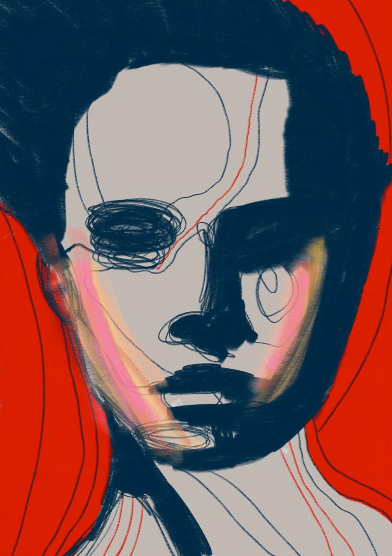 Title Portrait Color Medium Acrylic painting + Digital Art Size 60x40cm