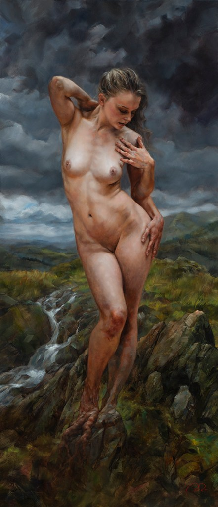 """Title Birth of the Muse - the Highlands Medium Oil on linen Size 26""""x 60"""""""