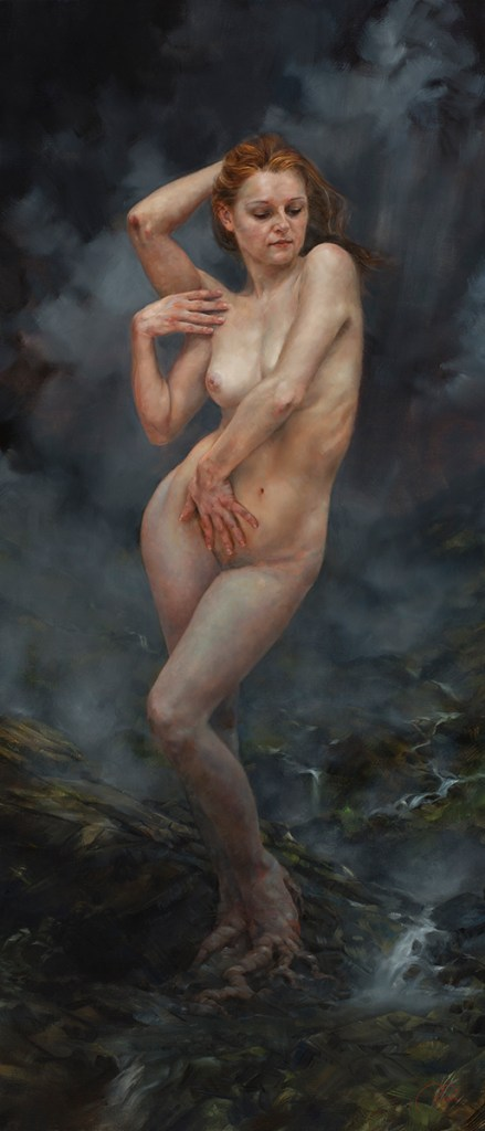 "Title Birth of the Muse - Valley of Mists Medium Oil on linen Size 26""x 60"""