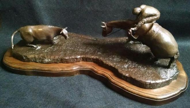 Title Helpin Dad...Unforseen Cut Medium Bronze Sculpture Size 24L x 11W x 12Tall x 80lbs