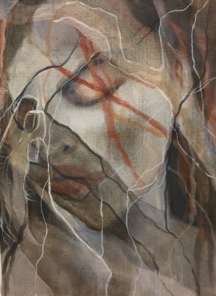 Title Redleaves VII Medium acrylic ond raw canvas Size W29xH40xD2cm