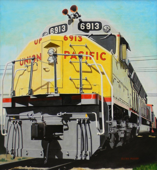 "Title Big Moe aka Union Pacific Medium Acrylic on Canvas Size 46"" x 49"""