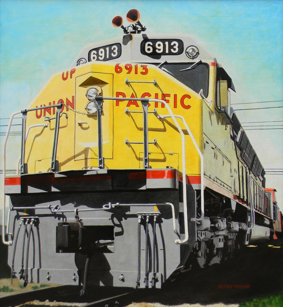 "Title Big Moe aka Union Pacific Medium Acrylic on Canvas Size 46"" x 49"""
