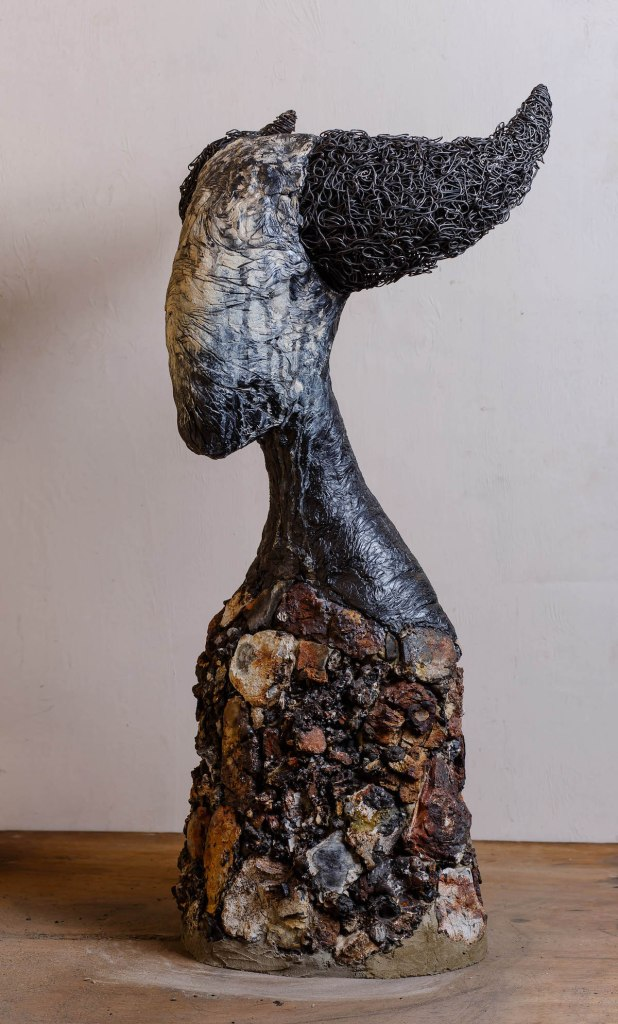 Title Selena Medium Mixed media, stone, steel, concrete, enamel paint Size 33 H x 16.1 W x 11.4 in