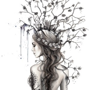 Title Lady Branches Medium Charcoal and watercolor Size 40x50 cm