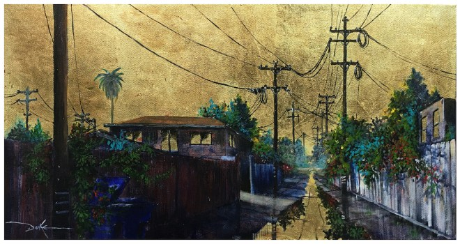 Title Golden Skies No. 34 Medium Acrylic and Gold Leaf Size 12 x 20 in.