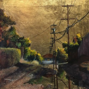 Title Golden Skies No. 44 Medium Acrylic and Gold Leaf Size 20 x 20 in.