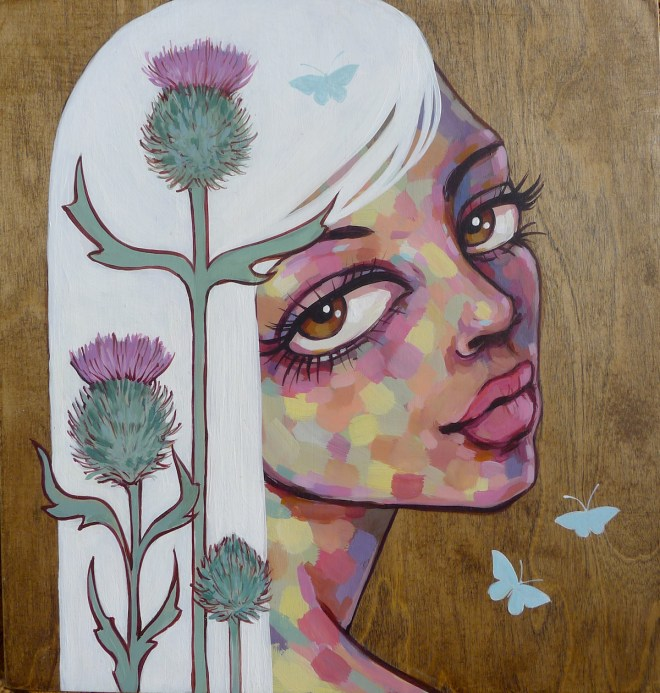 Title California Thistle Medium Acrylic on Wood Size 14in x 16in