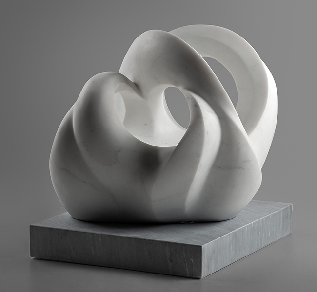 Title Tides Medium Staturary Marble of Carrara, base is Bardiglio Size TIdes, 19 x 19 x 17 inches / 48.3 x 48.3 x 43 cm