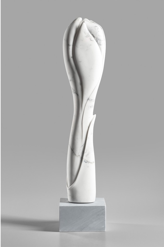 Title Khloris Medium Carrara marble, base is Bardiglio Size Khloris, 33 x 7 x 7 inches, 84 x 17.8 x 17.8 cm
