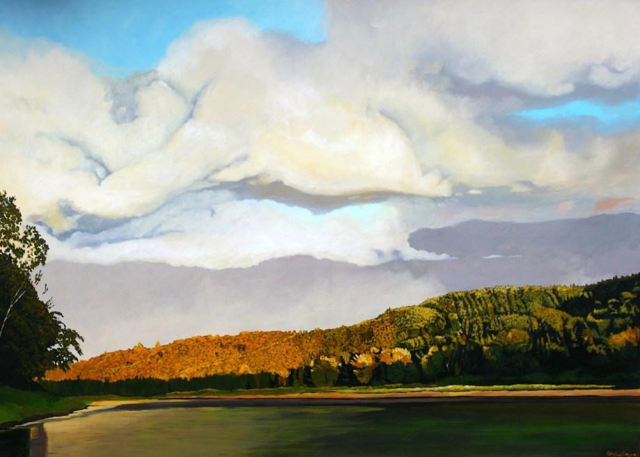 "Title ""Ivory Sky"" 46º44'02"" N 65º49'25"" W Medium Acrylic on Canvas Size 60""w x 40""h"