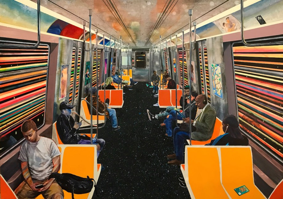 Title G Train Medium Acrylic on wood panel Size 15 X 21in