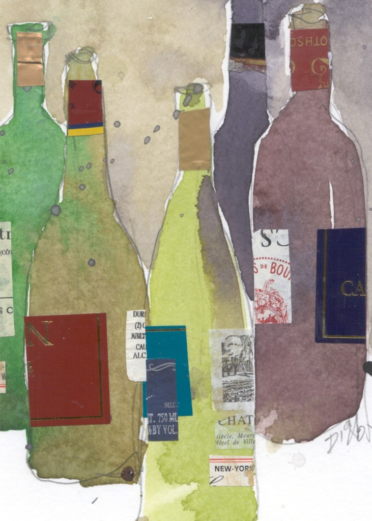 "Title Wine Moment Medium Watercolor and mixed medium Size 5"" x 7"""