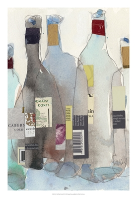 "Title The Wine Bottles III Medium Watercolor and mixed medium Size 5"" x 7"""