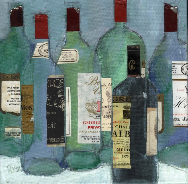"Title Wine Memory Medium Arcylic on canvas and mixed medium Size 12"" x 12"""