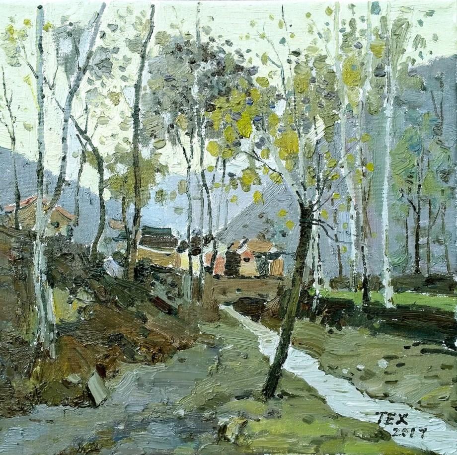 """Title Mountain village 2 Medium Oil on canvas Size 12""""x12"""""""