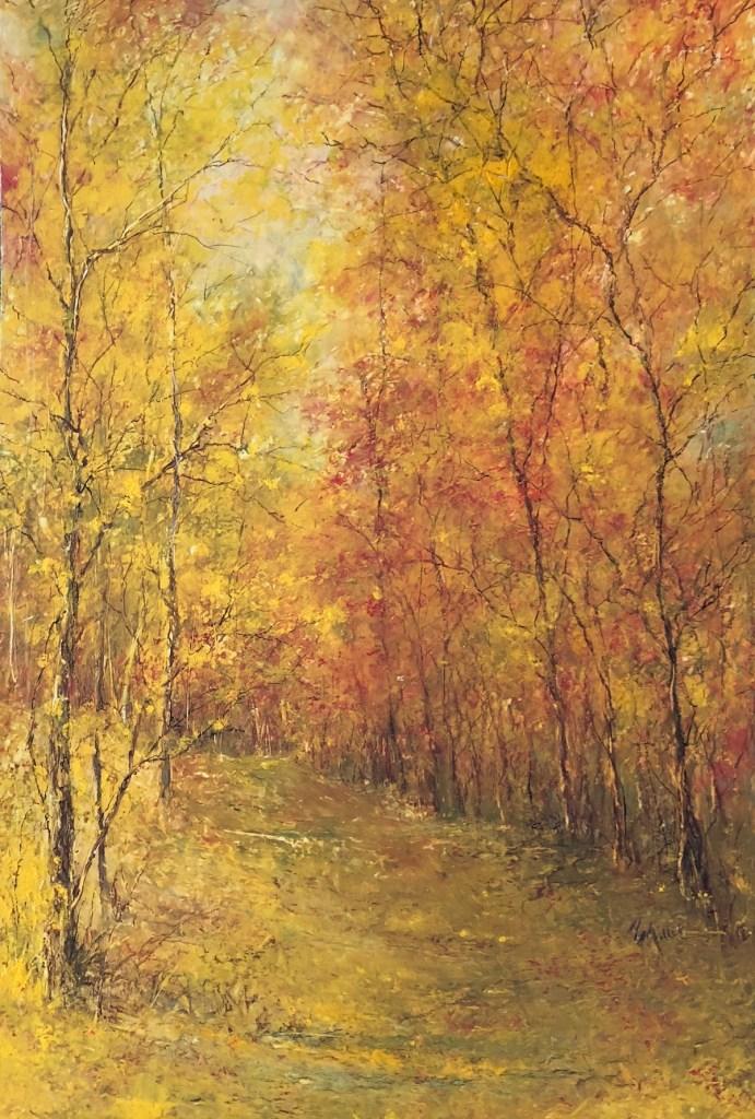 """Title Autumn Beauty Medium Oil Pastel Size 19x14"""""""
